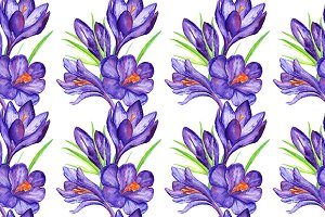 Watercolor crocus seamless pattern