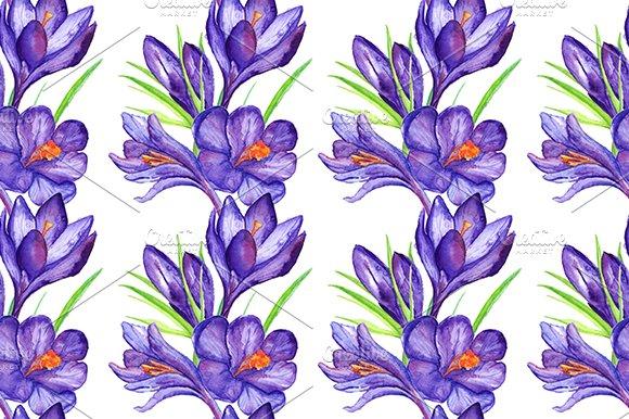 Watercolor Crocus Seamless Pattern