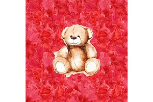 Watercolor Teddy Bear hearts pattern