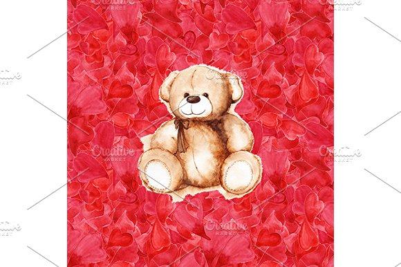 Watercolor Teddy Bear Hearts Pattern