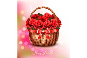 Holiday background with red flowers