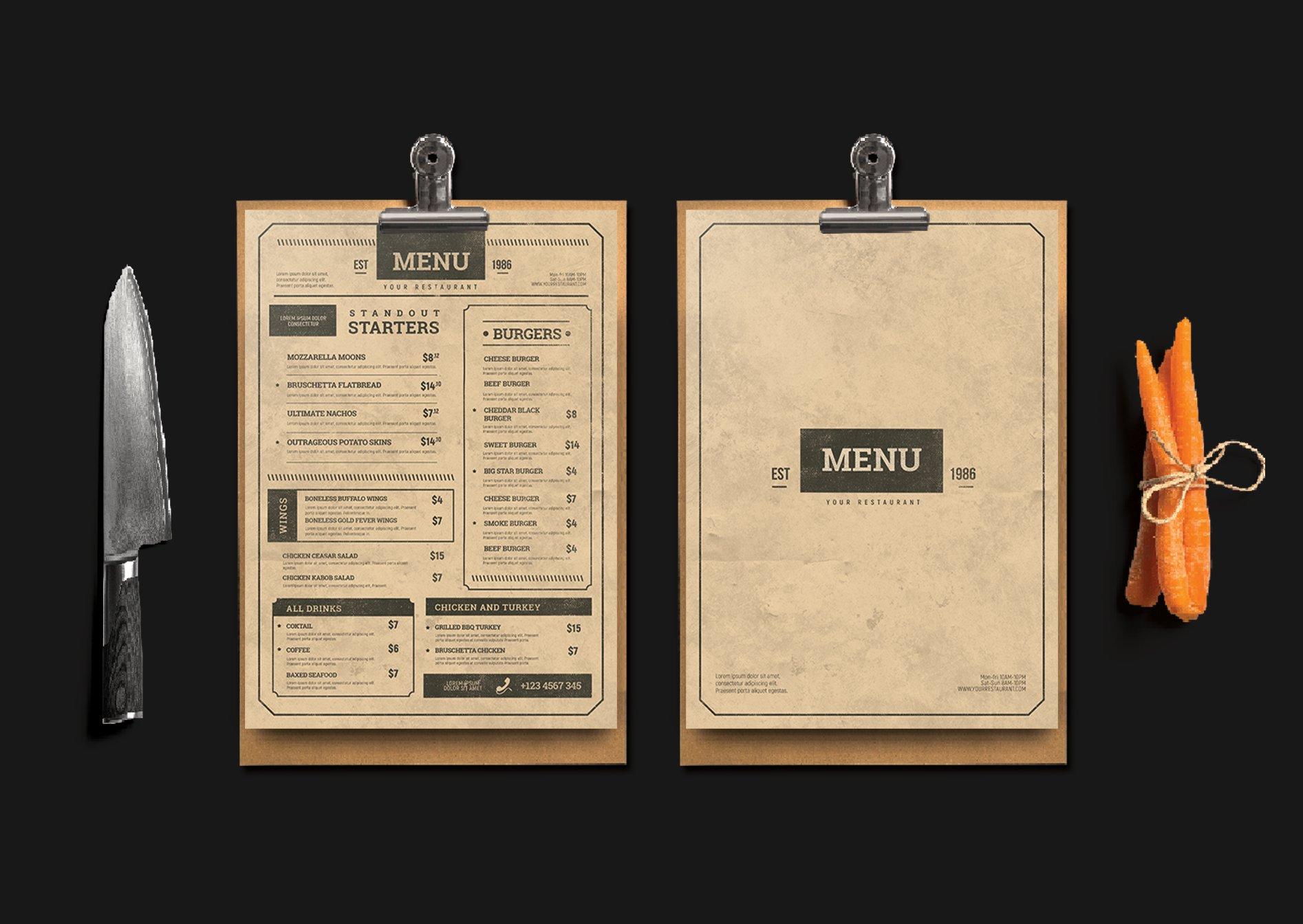 vintage menu flyer templates creative market