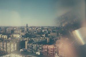 Tilt shift cityscape with reflection