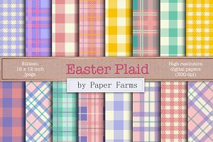 Easter plaid digital paper