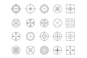 Collection of vector flat simple targets isolated on white background. Different crosshair icons. Aims templates. Shooting marks and cross hairs design