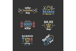 Barber Shop Emblems Set. Vector