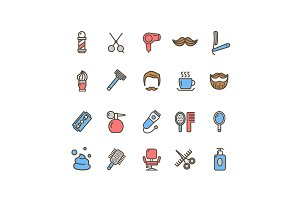 Barber Shop Icon Thin Line Set