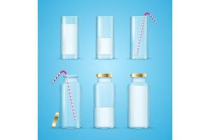 Milk Glass and Bottles Concept