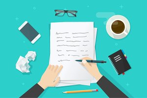 Writer Writing Paper Letter Vector