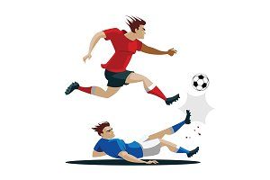 Two Soccer Player Kicking Ball