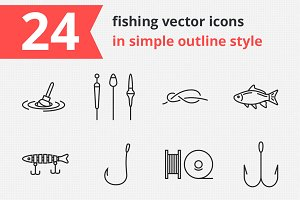 24 fishing vector icons