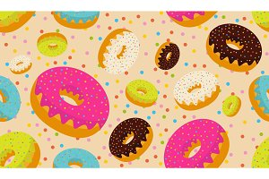 Tasty donuts seamless pattern