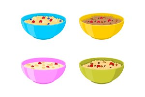 Vector bowl with porridge set.