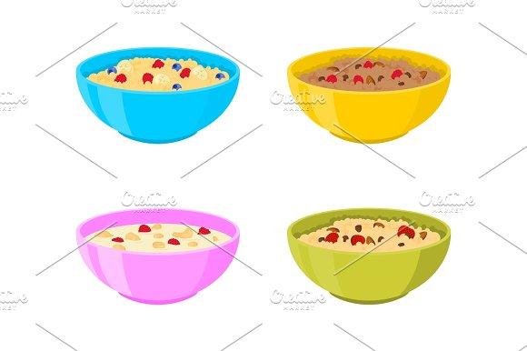 Vector Bowl With Porridge Set