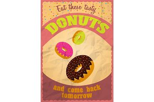 Vintage delicious donuts poster