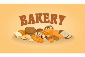 Poster with bakery shop products