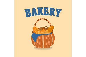 Wicker basket with bakery products