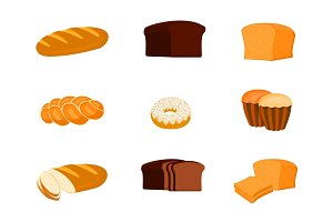 Set of bread and other bakery products