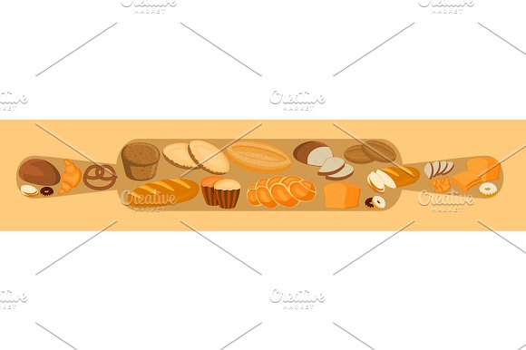 Bakery Design With Rolling Pin And Bread