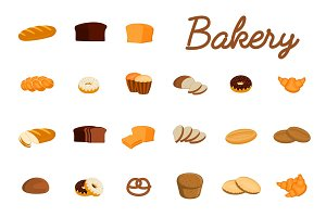 Set of illustrations with bakery products