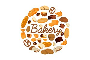 Illustrations of bakery products