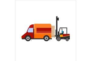 Loader truck loading cardboard boxes
