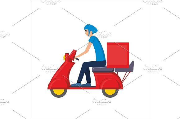 Delivery Courier Person Rides A Roller Scooter