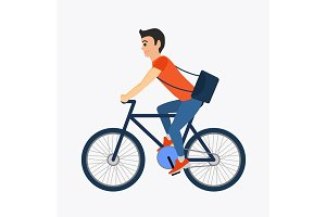 Delivery courier person rides a bicycle