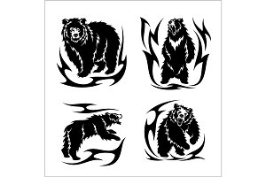 Wild bears ina tribal style isolated on white