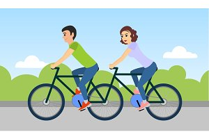 Man and woman are riding a tandem bicycle