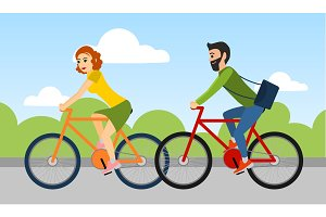Couple of man and woman are riding a bicycle