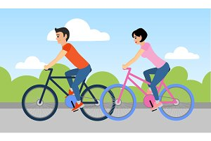 Man and woman are riding a bicycle