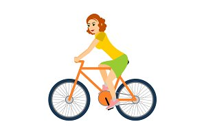 Woman cyclist rides a bicycle