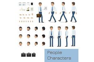 Businessman Character Generator Flat Vector