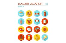 Beach flat icon set. Summer. Vacation