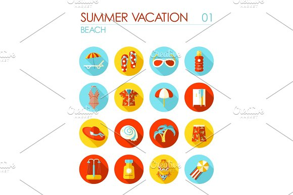 Beach Flat Icon Set Summer Vacation