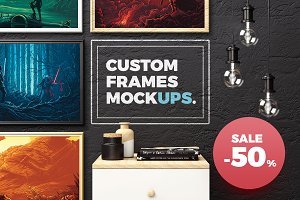 50% OFF. Custom Frames Mockups
