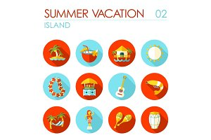 Island beach flat icon set. Summer. Vacation