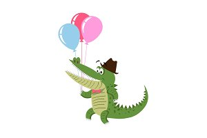 Cartoon Crocodile with Air Balloon in Hat Isolated