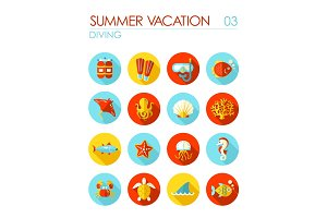 Diving flat icon set. Summer. Vacation