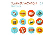 Traveling flat icon set. Summer. Vacation