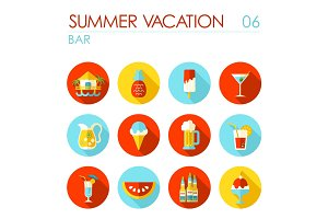 Bar beach flat icon set. Summer. Vacation