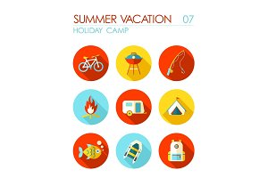 Summer camping flat icon set. Holiday