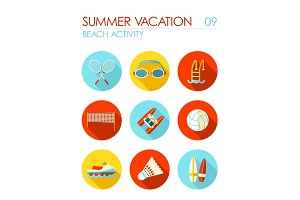 Beach activity flat icon set. Summer. Vacation