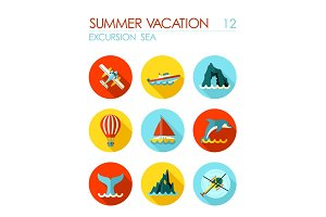 Excursion sea flat icon set. Summer. Vacation