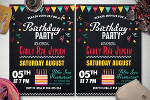 Chalkstyle Birthday Party Flyer