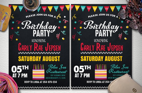 Chalkstyle Birthday Party Flyer in Flyer Templates