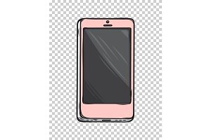 Pink Glamorous Smartphone Isolated Illustration
