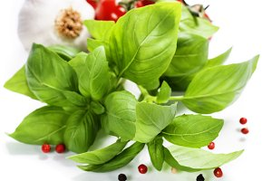 basil leaves and fresh vegetables