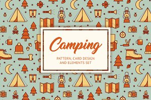 Camping pattern, card & elements set